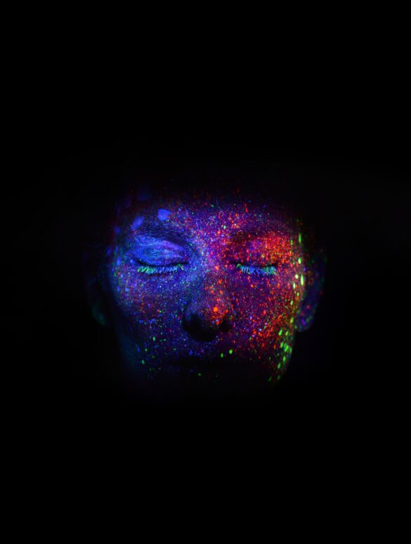 women's face with glitters